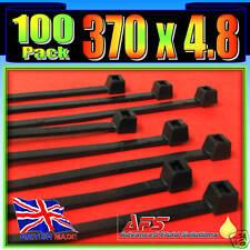 370mm x 4.8mm Black Nylon Cable Ties 100 Tie Zip Wraps