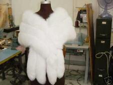 MONROE NATURAL WHITE FOX TRIPLE ROW SHAWL WRAP CAPE COAT STOLE SHRUG TAILS