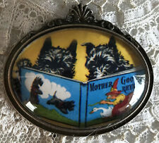 SCOTTIES READING BOOK Glass Dome BROOCH Pin Vintage Mother Goose Scotty Dog Card
