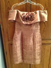 Beautiful Gold/Copper Short Cocktail/Holiday Dress With Flower Accent Size 10