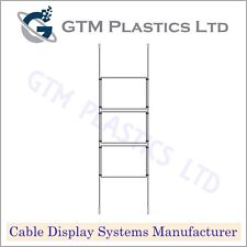 Cable Window Estate Agent Display - 1x3 A3 Landscape - Suspended Wire Systems