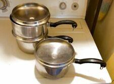 3 Farberware Aluminum Clad Stainless Steel Sauce Pans (2) 2 Qt (1) 1-1/2 Qt GUC
