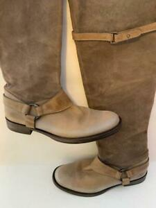BRUNELLO CUCINELLI Taupe Gray Leather Harness Over The Knee RIDING Boots Sz 39.5