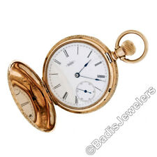 Vintage Working Elgin Grade 94 8s 11j Pocket Watch 14K Gold Engraved Hunter Case