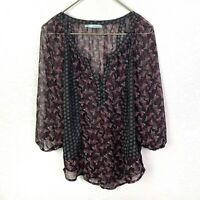 Maurices Sheer Tunic Blouse Women's M 3/4 Sleeve Purple Black Floral