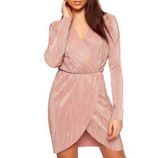 Crinkle Metallic Glitter Dress Womens Long Sleeve Bodycon V Neck Wrapover Dress Pleated Rose E6535 8