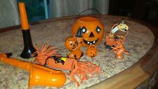 Halloween vintage lot of 8 hard plastic bright orange and blacks/ crepe paper