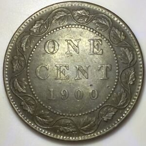 1900 H Canada 1 One Large Cent Coin - Queen Victoria