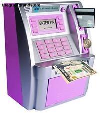 Pink ATM Saving Piggy Bank Machine Storage Money Bill Cash Currency 4 Digit Code