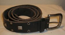 Black studded leather belt - 47 inches, square, round studs, thick leather