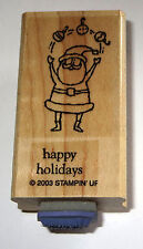 Happy Holidays Rubber Stamp Santa Claus Juggling Stampin' Up! Retired Ornaments