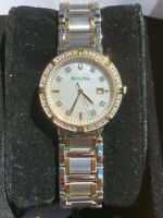 Bulova Women's Luxury Watch Silver Gold Tone Analog Dial Watch
