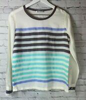 EQUIPMENT White Gray Blue Liam Striped Long Sleeve Silk Blouse Shirt Size XS