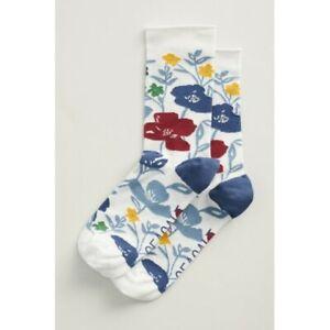 Seasalt Women's Bamboo Arty Socks - Printed Poppies Ecru Mix - UK 3-8 - BNWT