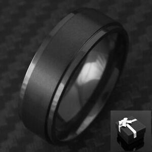 8mm Titanium Men's Ring Black Brushed Center Wedding Band Ring