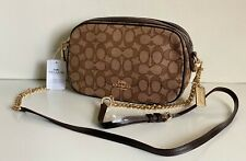 NEW! COACH OUTLINE SIGNATURE BROWN ISLA GOLD CHAIN CROSSBODY SLING BAG $275 SALE