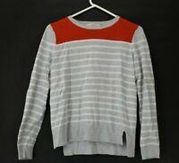 Ann Taylor Loft Womens Medium Red Gray & White Striped Long Sleeve Sweater