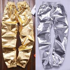 Mens Skate Hip Hop dance Jogger Pants Glossy Trouser Bottoms Slacks Casual Shiny