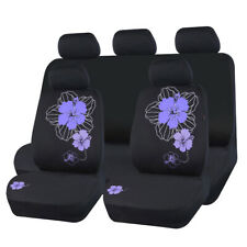Universal Car Seat Cover Purple Fabric Breathable Split Rear 40/60 For Sedan SUV