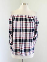 NWT Crown & Ivy Plaid On / Off Shoulder Top Size XS Pink Blue Blouse 3/4 Sleeve