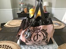 Juicy Couture Classic Pink Velour Bag With Brown Leather Boho Purse