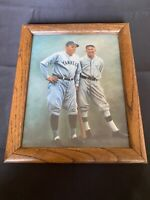 RARE Vintage 8x10 framed art postcard photo of Babe Ruth and Ty Cobb Yankees