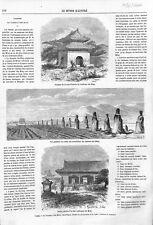 Chine Kiosque Monolithes Tombeau des Ming à Pékin /Cirque-Napoléon GRAVURE 1866