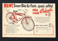 1950 Columbia Bicycle Advertisement Flash Speed Safety Bike Vintage Print AD