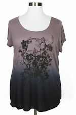 ROCK & REPUBLIC OMBRE EMBELLISHED GRAPHIC SKULL SHORT SLEEVE KNIT TOP PLUS Sz 2X