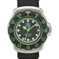 TAG HEUER Formula 1 375.513 Black/Green Dial SS/Rubber Quartz Boys Watch N#96025