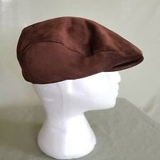 Vtg LEE Suede Cap Brown Flat Hat Union Made USA Flat Newsboy Festival Cabbie