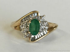 Estate Jewelry Ladies Emerald Cluster Ring 14K Yellow Gold Size 6
