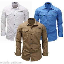Men's Long Sleeve Cargo T Shirts Military Casual Shirt Army Pockets Top Workwear