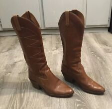 Vintage Imperial Cowboy Boots Womens Size 10 Leather Tan Brown Brazil Made Rare