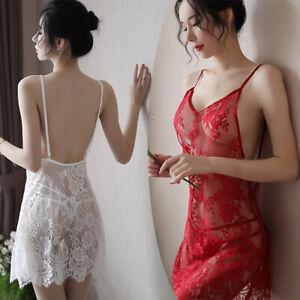 Women Sexy Lingerie Set Dress With G-string Sleepwear Lace Babydoll Nightwear