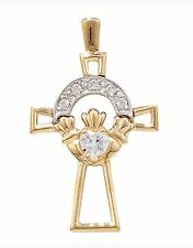 """9ct Gold Claddagh Cross With CZ And With An 18"""" 9ct Gold Curb Chain REDUCED!!"""