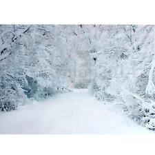 5x3FT Vinyl Winter Snow Ice Backdrop Photography Background Photo Studio Props