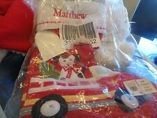 "Pottery Barn Kids Christmas Firetruck Dalmatian  stocking mono ""Mathew"" New"