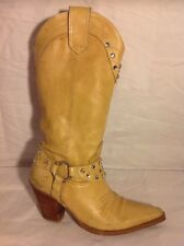 Bronx Beige Mid Calf Leather Boots Size 36