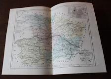 1850 Carte Géographique Atlas époque couleur Département Maine et Loire  Angers