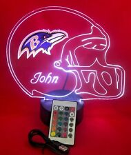 Baltimore Ravens NFL Football Light Up Lamp LED With Remote Personalized Free