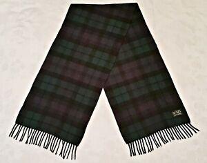 SCOTLAND VINTAGE AUTHENTIC LOCHCARRON CASHMERE PLAIDS LONG MEN'S FRINGE SCARF