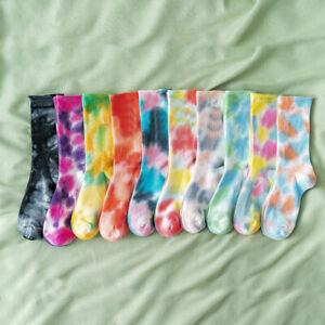 Women Socks Cotton Blend Colorful Tie-Dye Cute Art Hip Hop Calf Length Stockings