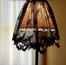 HOT Lace Halloween Spider Web Bat Lamp Shade Drape Topper Curtains House Decor