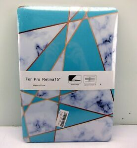 """New Hard Cover Protective Case For Macbook Retina 15"""" Case A1398 Cyan Marble"""