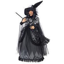 "27"" RAZ Gothic Black Witch Halloween Figure Doll Broom Hat Holiday Home Decor"