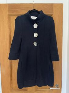 Gorgeous Womens Goat Library Navy Blue 3/4 Sleeve Long Knitted Cardigan UK 10