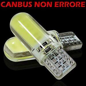 2 Led T10 Lampade Gel Silica SMD COB No Errore Canbus BIANCO Xenon Lampadine W5W