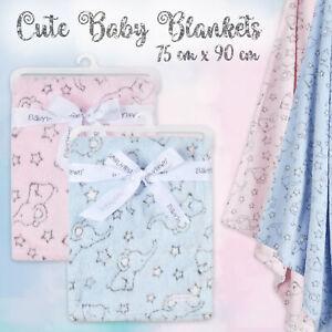 Baby Boys Girls Newborn Soft Blankets Jacquard Elephant Plush Fleece Pram Crib