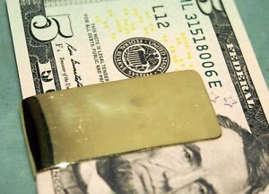 MONEY CLIP 14 KARAT YELLOW GOLD 14.6 GRAMS STAMPED 14 K SIZE=50MM BY:24MM